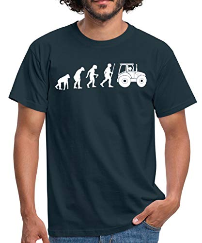 Landwirt Evolution Traktor Traktorfahrer Männer T-Shirt, 4XL, Navy