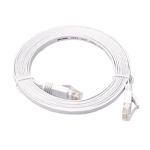 Lan Kabel - Cable Ethernet plano (3 m, Cat6, Gigabit Lan, RJ45, 1 Gbps, STP, para conmutador, router, módem, panel de conexiones, punto de acceso, plano), color negro