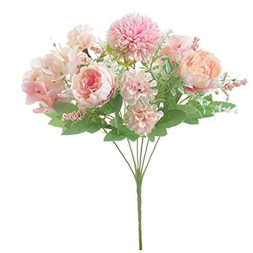 Naisicatar Fleurs Artificielles 9 Têtes Soie Fausse Fleur Simulation Pivoine Bouquet Real Touch Décoration pour Mariage Office Party