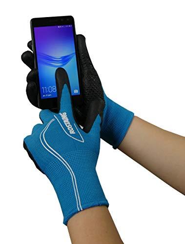 Rostaing Serie Touch Handschuhe Übergangsjacke Handfläche Kletterpflanze Funktion Telefonnummer Touchscreen + LEASH Handgelenk, Schwarz/Türkis, 34x 12x 3cm