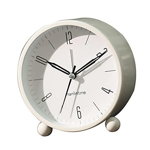 Reloj Despertador Reloj de alarma analógico silencioso de 4 pulgadas Redáneo Redáneo Reloj de dormitorio sin tictac Reloj de alarma Nightlights Nightlights Despertador para niños ( Color : White )
