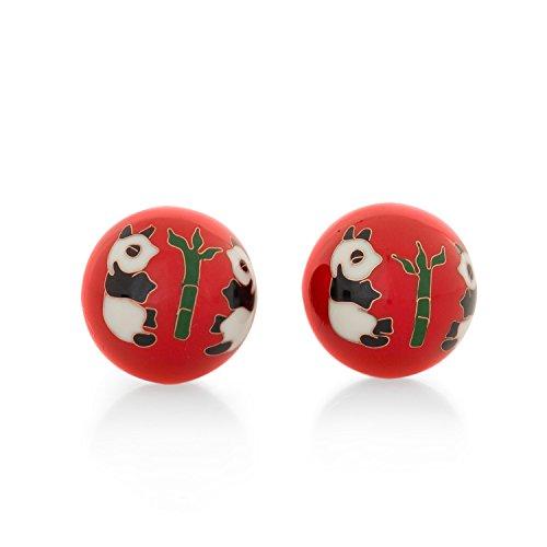 Meditation Qi-Gong-Kugeln mit Klangwerk | Klangkugeln | Yin Yang | Design Panda rot | verschiedene Durchmesser (Ø 40 mm)