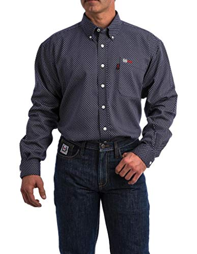 Cinch Men's WRX Fr Navy Print Lightweight Button Down Work Shirt Navy Large