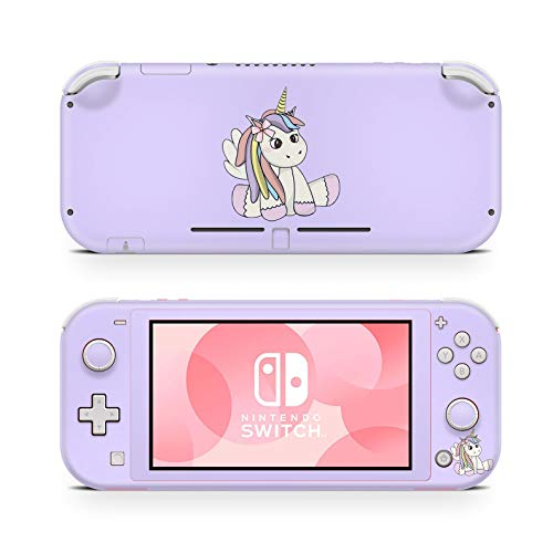 ZOOMHITSKINS Switch Lite Skin Decal Stickers, Unicorn Pastel Light Mauve Pink Lavender Animal Pets Pale Horse Pony Anime Cute High Quality, Durable, Bubble-free, Goo-free, 1 Console Skin, Made in USA