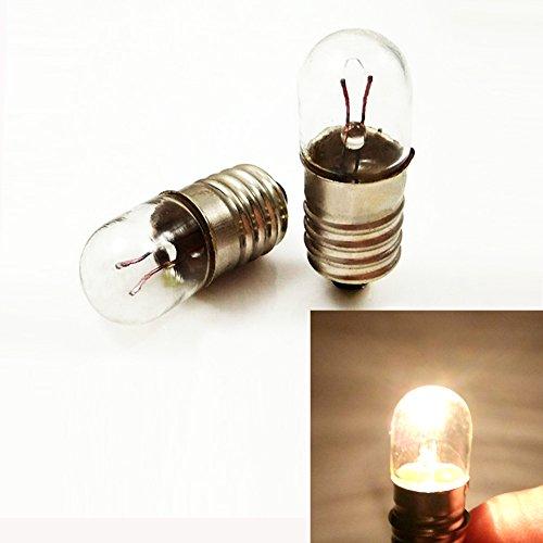 Glühbirne, E10 12 V T10 x 28, Miniatur Sockellampe, warmweiß, für DIY, Lehrer, Experimente (10 Stück), 12V 5W, E10