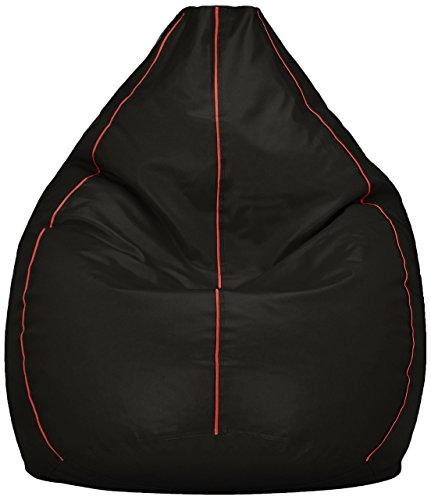 Amazon Brand - Solimo XXXL Bean Bag Cover (Black with Pink...