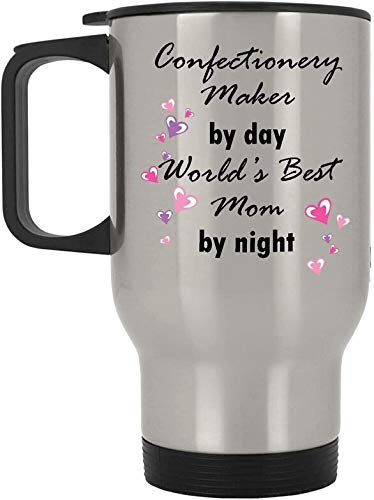 Confectionery Maker By Day World's Best Mom By Night Coffee Silver Travel Mug With Handle - 14 Oz Stainless Steel - Funny Cute Present