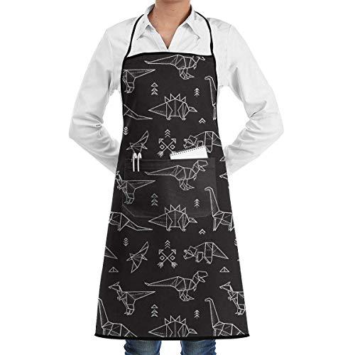 jingqi Delantal de Dinosaurio Galaxy Origami con Bolsillo Delantal de Babero de Cocina BBQ Divertido para Mujeres Hombres Chef de Cocina Hornear Jardinería