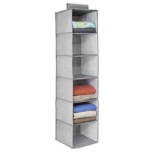 mDesign étagère suspendue – rangement suspendu – meuble suspendu en tissu – polyvalent – 6 compartiments – en polypropylène – gris