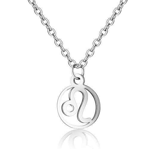 DDDDMMMY Halskette,Leo Mode 12 Sternbild Schlange Anhänger Mit Halskette Silber Kette Der Frauen Stimmung Tracker