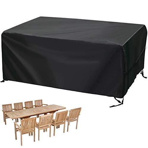 Velway Funda para Muebles de Jardín Exterior, Protectora para Mesas Rectangular de Patio, Cubierta de Sofá Silla de Paño Oxford Impermeable a Prueba de Polvo Lluvia Sol Viento, 170x94x71cm Negro