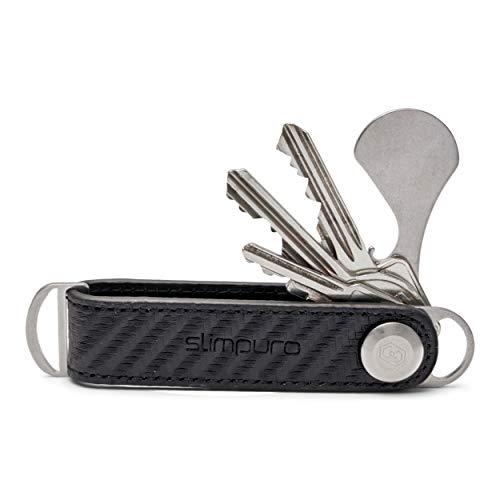 KEYZNAP 1.0 – Key Organizer mit Einkaufschip und Flaschenöffner – Schlüsselbund aus Echtleder für bis zu 7 Schlüssel – Mit Edelstahlschraube – Schlüsseletui von SLIMPURO - Made in Europe (Carbon)