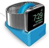 Orzly Soporte Compacto para Apple Watch - Compatible con el Modo Nightstand - Soporte Azul con Ranura integrada para Cables (Compatible con 38 mm y 42 mm y 40 mm y 44 mm)