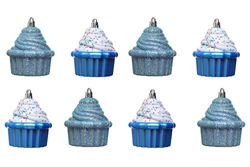 Heitmann Deco Christbaum - Schmuck - Cupcake - 8er Set - Weihnachtskugeln - blau,weiß - beglittert, matt - ca. 8 cm