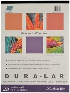 Grafix Clear .003 Dura-Lar Film, 9-Inch by 12-Inch, 25 Sheets