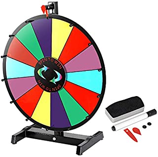 HomGarden 24 Inch Tabletop Color Spinning Prize Wheel 14 Slots Editable Classic Spin Win Prize Wheel Fortune Spin Game Cas...