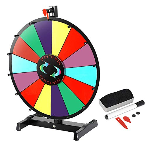 HomGarden 24 Inch Tabletop Color Spinning Prize Wheel 14 Slots Editable Classic Spin Win Prize Wheel Fortune Spin Game Casino Equipment