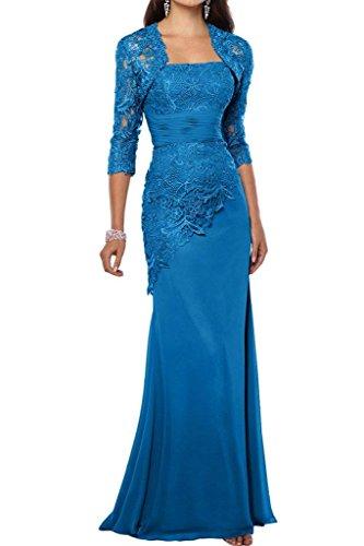 Charmant Damen Elegant Blau Satin Abendkleider Partykleider Promkleider Brautmutterkleider Lang Schmaler Schnitt -42 Blau