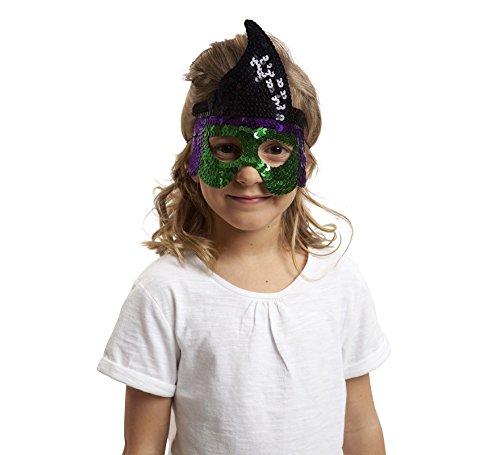 Viving kostuums 203590 heks pailletten masker, meerdere kleuren, een maat