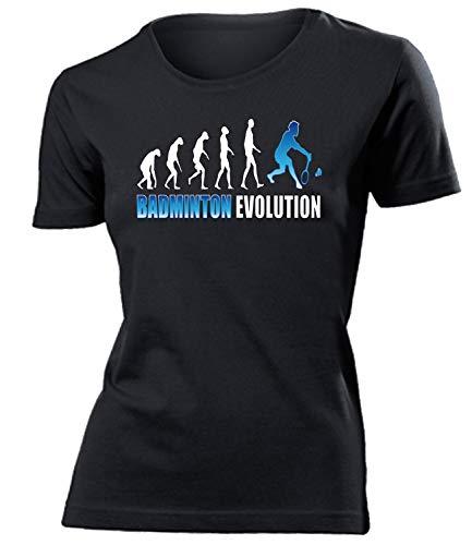 Badminton Evolution Geburtstag Geschenke Damen Frauen t Shirt Tshirt t-Shirt Federball zubehör Bekleidung Oberteil Hemd Kleidung Outfit Spruch Fun witzig Artikel