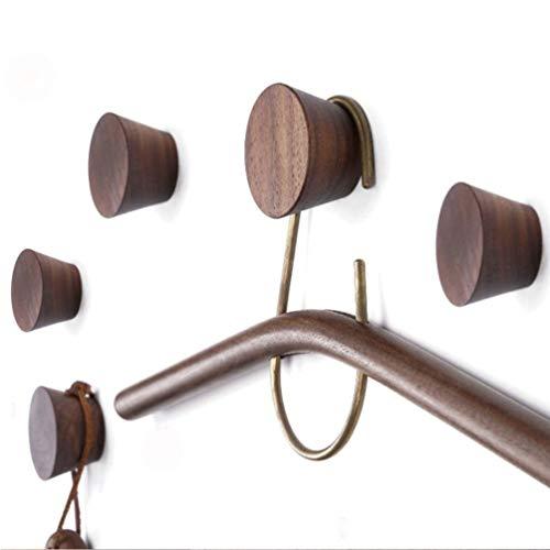 Wooden Coat Hook 5 Pack, Wood Wall Hat Hook, Wooden Coat Peg Coat Hanger, Heavy Duty Hooks for Hanging Clothes, Coats, Hats, Robes, Towels, Bedroom, Closet, Bathroom, Entryway