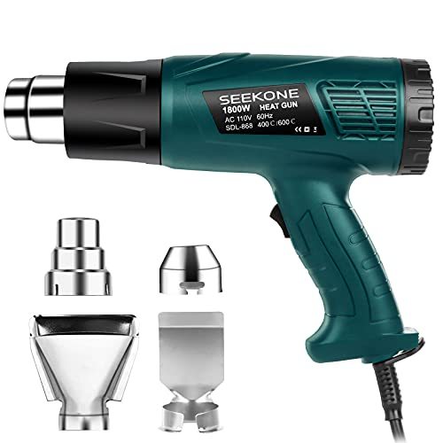 Heat Gun, SEEKONE 1800W Heavy Duty Hot Air Gun Kit Dual-Temperature Settings 752℉&1112℉ with 4 Nozzles for Crafts, Stripping Paint, Shrinking Tube and PVC