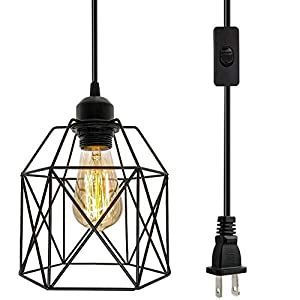 Industrial Plug in Pendant Light, Black Cage Pendant Light Fixture with On/Off Switch, E26 Socket Vintage Hanging Light, Farmhouse Pendant Lighting for Kitchen Living Room Dining Room