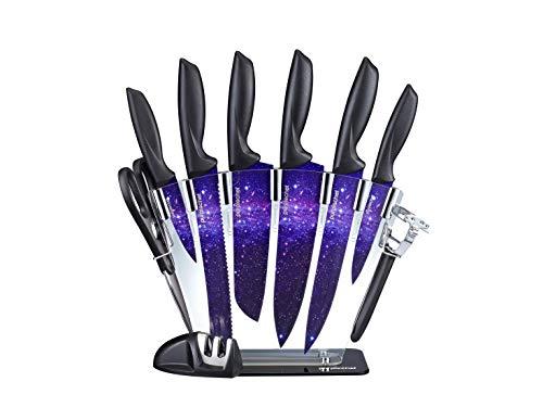 PurpleChef パープルギャラクシー キッチンナイフ10点セット ステンレススチールナイフ6本 はさみ ナイフ研ぎ器 ピーラー クリアアクリルスタンド