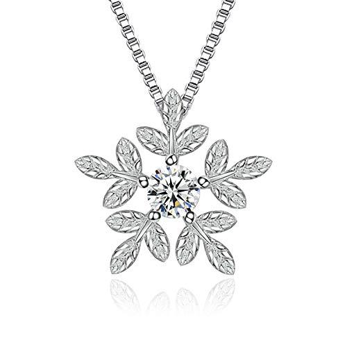 yuyuyu Plata esterlina Moda Cristal Brillante Copo de Nieve Collares Pendientes para Mujer Caja Corta Regalo de joyería de Cadena