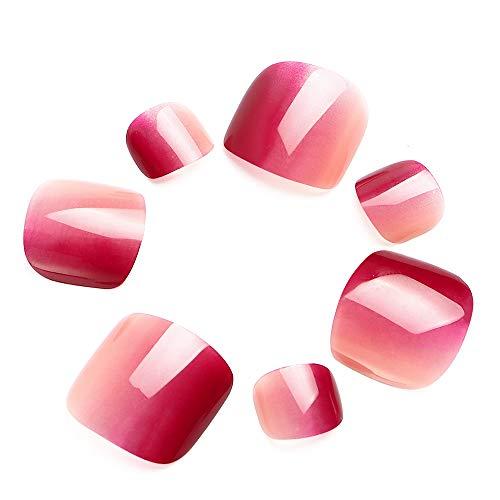 LIARTY 24 Stück Zehennägel Rot Farbverlauf Falsche Zehennägel Wasserdicht für Fullcover Künstliche Toe Nail Tipps für Damen Frauen