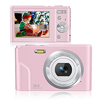 Rosdeca 36 MP Kids Camera 1080P Digital Video Camera for Photography Rechargeable Point and Shoot Camera with 16x Digital Zoom IPS LCD Display with 2 Batteries - Pink