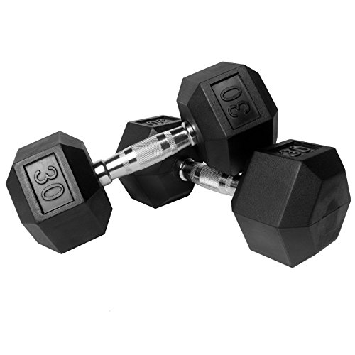 XMark Hex Dumbbells, Rubber Coated, 30 Pound Pair