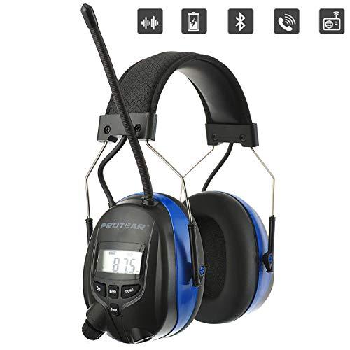 PROTEAR Wiederaufladbare Gehörschutz mit Radio und Bluetooth,FM/AM Radio Eingebautem Mikrofon,für Industrie,Bau und Mähen Lärmreduzierung SNR 30dB