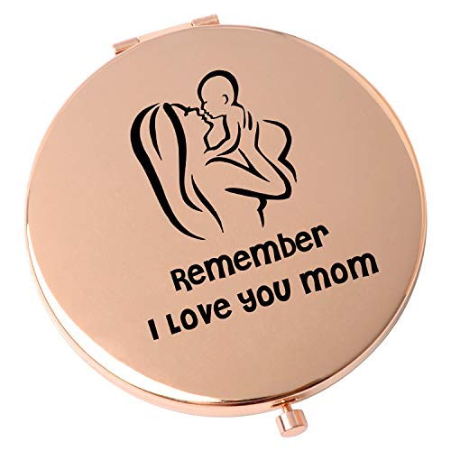 ShangTianFeng Mom Best Gift Pocket Metal Mirror Compact Travel Mirrors Mother's Day GiftsThanksgiving Day Remember I Love You Mom Travel Magnifying Mirror-Rose Gold