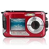 EANSSN Cámara Subacuática, Cámara De Alta Definición Dual-Screen 16X Digital Zoom Flashlight Cámara Impermeable, Usada para Snorkeling, Parques Acuáticos, Playas,Rojo