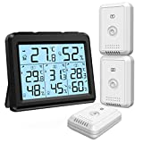 ORIA Indoor Outdoor Thermometer, Digital Hygrometer Thermometer with 3 Wireless Sensors, Temperature Humidity