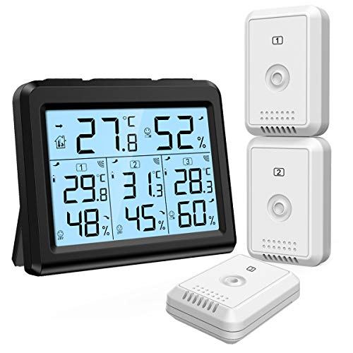 ORIA Digital Thermometer Hygrometer with 3 Sensors, Indoor Outdoor Humidity Meter Temperature Monitor, Wireless Weather Station with Backlight, Comfort Icon, Arrow Trends for Temp and Humidity -Black