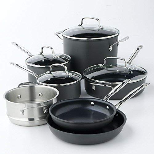 Cuisinart Chef's Classic Nonstick Hard-Anodized 11-Piece Cookware Set,Black Kansas