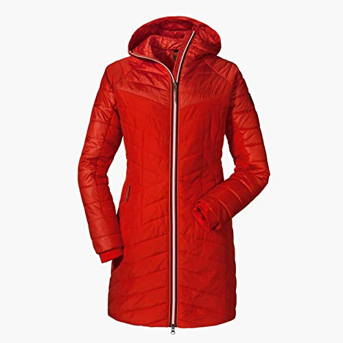 Schöffel Thermo Coat Orleans Damesjas met capuchon en doorgestikt patroon, comfortabele damesmantel met 2-wegritssluiting