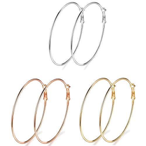 3 Paia Acciaio Inossidabile Set Orecchini Cerchio 60mm per Donna Ragazza, Argento Oro e Oro Rosa
