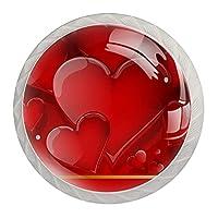 引き出しハンドルキャビネットノブ 4つの引き出しノブのラウンドパック,バレンタインデーの愛の心