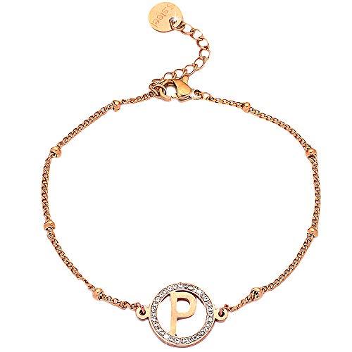 Beloved Bracciale da donna in acciaio e cristalli con iniziale white gold o rose gold - lettera alfabeto - misura regolabile - chiusura a moschettone (P Rose gold)