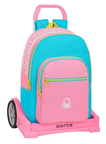 Safta Mochila Escolar con Carro Evolution Incluido de Benetton Color Block, rosa/turquesa/amarillo, M (M860Q)