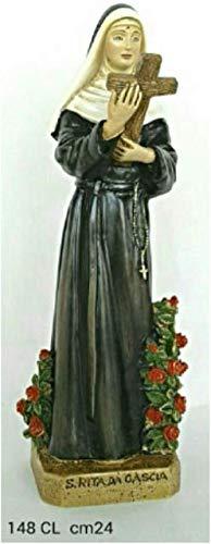 CREART S. Rita con Il Crocifisso - Statua in Resina e Polvere di Marmo - h. cm 24
