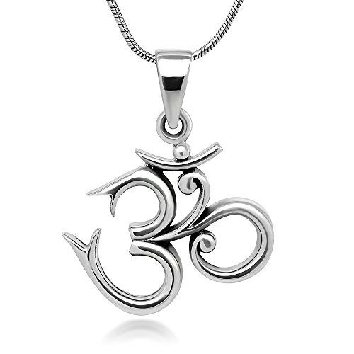 Sterling Silver 19 mm Aum Om Ohm Sanskrit Symbol Yoga Charm Pendant Necklace 18''