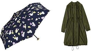 【セット買い】ワールドパーティー(Wpc.) 雨傘 折りたたみ傘 ネイビー 50cm レディース ポーチタイプ スイートピーミニ 3692-229 NV+レインコート ポンチョ レインウェア オリーブグリーン FREE レディース 収納袋付き R-1101 OG