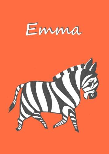 Malbuch / Notizbuch / Tagebuch - EMMA: Zebra, DIN A4 blanko mit kleinem Zebra auf jeder Seite