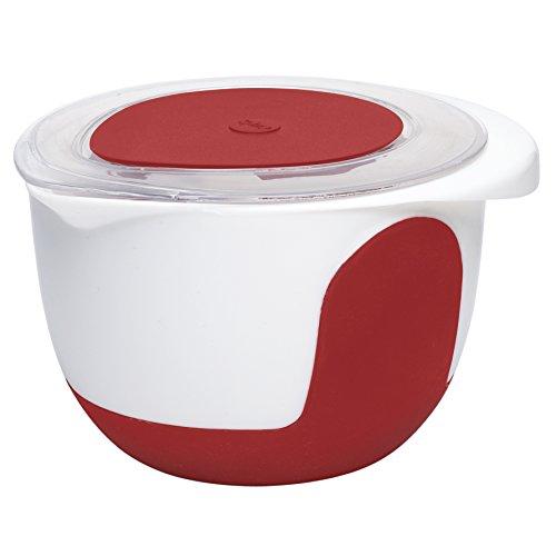 Emsa 508018 Mix & Bake Pot mixeur avec couvercle Blanc/Rouge, 2 L