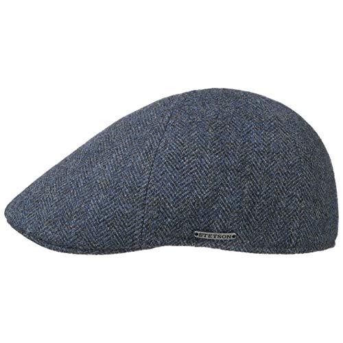 Stetson Texas Herringbone Cap - Schiebermütze Herren - Flatcap mit Baumwollinnenfutter - Schirmmütze Herbst/Winter - Herrenmütze dunkelblau L (58-59 cm)