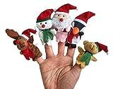Demarkt Weihnachts Fingerpuppen Set Rollenspiele Handpuppe Plüsch Spielzeug Kinder Frühre Bildung Rentier Schneemann Weihnachtsmann Pinguin Teddy Bär -